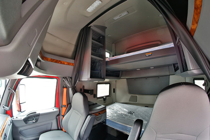 Image of the inside of a Don Hummer Trucking cab.
